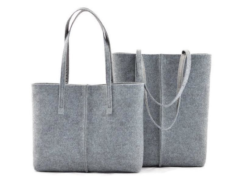 Biodegradable Non Woven Felt Tote Bags For Women Shopping
